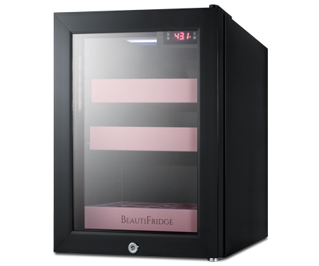 Pink Makeup Fridge for Chilled Skincare Products