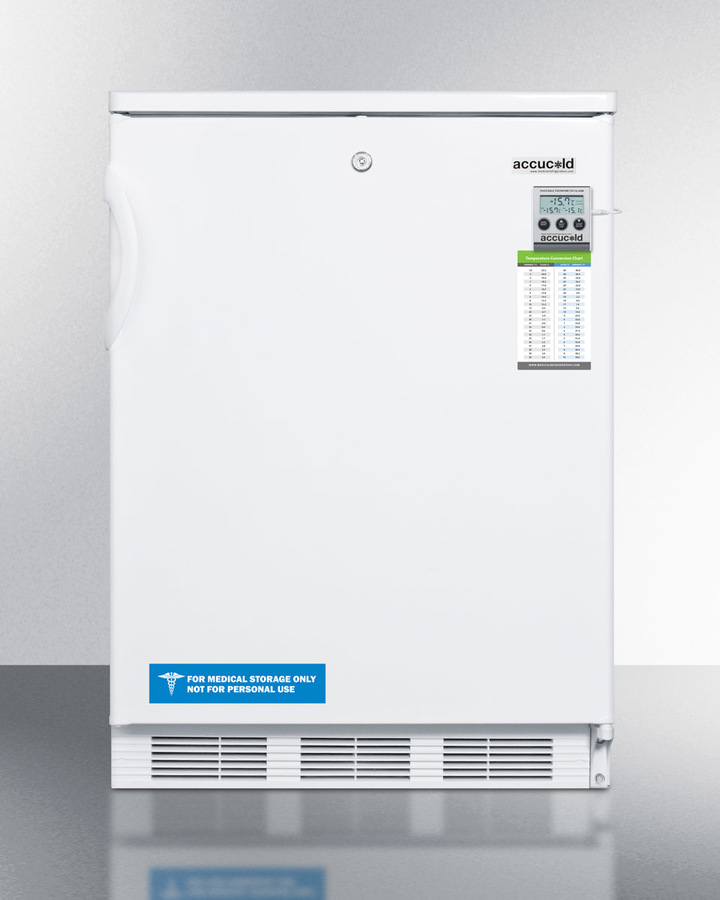 ADA compliant refrigerator-freezer for built-in general purpose use, with dual evaporator cooling, traceable thermometer, internal fan, and front lock