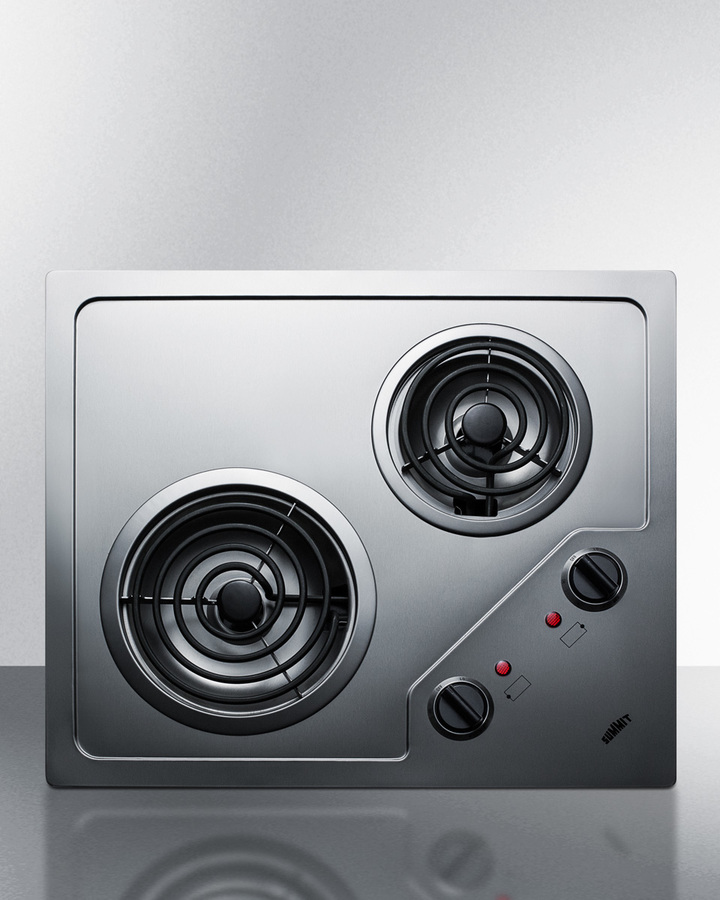 Black Summit CR2B121 115V 2-Burner 21 Radiant Cooktop For Portrait or Landscape Installation In 20 x 16 Cutouts