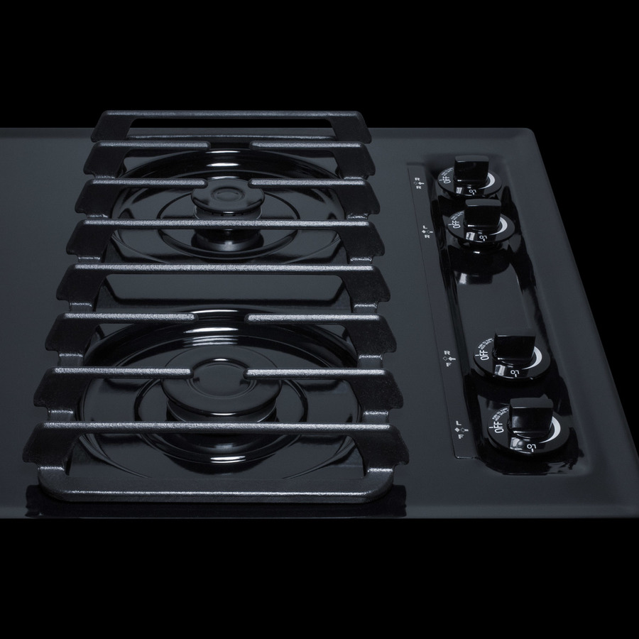 Sealed Sabaf Burners Removable Burner Caps and Electronic//Gas Spark Ignition Summit Appliance WTL033S 24 Wide Sealed Burner Gas Cooktop in White with Cast Iron Grates Push-to-turn Knobs