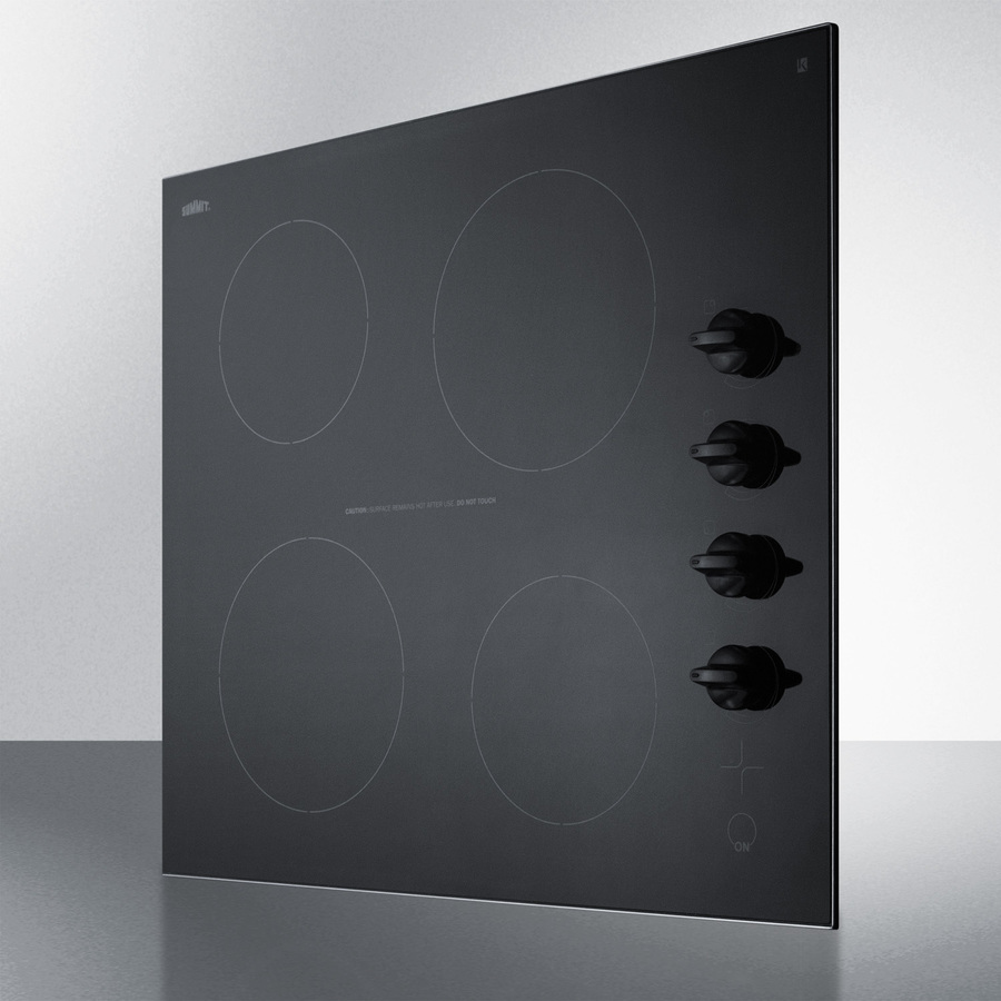 Indicator Lights Summit Appliance CR4B242BL 24 Wide 230V 4-Burner Radiant Cooktop in Smooth EuroKera Black Ceramic Glass Surface Side-mounted Control Panel Push-to-turn Knobs