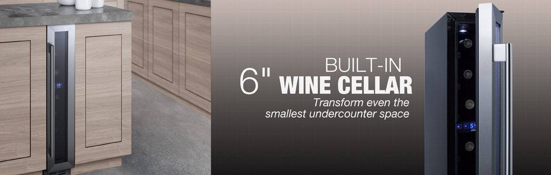 Built-in 6 inch wide wine cellar